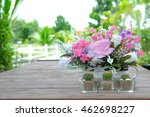 colorful fowers and cactus on... | Shutterstock . vector #462698227