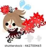 a running cute little girl and... | Shutterstock .eps vector #462700465