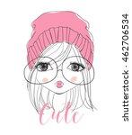 portrait illustration girl    Shutterstock .eps vector #462706534