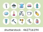 sanitary and bathroom icons set | Shutterstock .eps vector #462716194