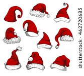 santa red hats set. new year... | Shutterstock .eps vector #462720685