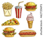 fast food sketch icons set.... | Shutterstock .eps vector #462720691