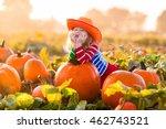 Little Girl Picking Pumpkins O...