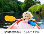 happy kid enjoying kayak ride... | Shutterstock . vector #462745441