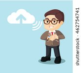 businessman uploading to cloud... | Shutterstock .eps vector #462754741