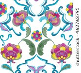 watercolor damask seamless... | Shutterstock . vector #462763795