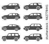Stock vector silhouette suv car set 462778441