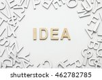 word idea wooden alphabet on... | Shutterstock . vector #462782785