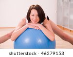 young woman with stability ball ... | Shutterstock . vector #46279153