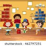 children reading books in the... | Shutterstock .eps vector #462797251
