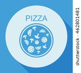 pizza with salami and mushrooms.... | Shutterstock .eps vector #462801481