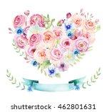 watercolor vintage floral piony ... | Shutterstock . vector #462801631
