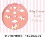 baby crib hanging toy on stripe ... | Shutterstock .eps vector #462803101