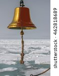 Small photo of ship alarm bell on the background of frozen sea