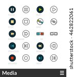 black and color outline icons ... | Shutterstock .eps vector #462822061