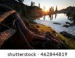 Sunset On The Lake. Wildlife...