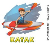 cartoon vector kayak sport with ... | Shutterstock .eps vector #462848041