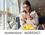 air travel concept. young... | Shutterstock . vector #462852427