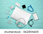 Small photo of Laptop with accessories. Energy and information safety concept