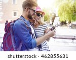 couple using digital tablet on... | Shutterstock . vector #462855631