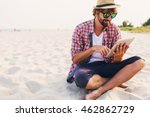 handsome  hipster  man    with  ... | Shutterstock . vector #462862729