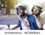 couple in helmets riding a... | Shutterstock . vector #462864661