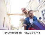 young couple during the riding... | Shutterstock . vector #462864745