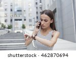 business woman being late... | Shutterstock . vector #462870694