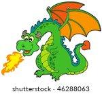 Cartoon Fire Dragon   Vector...
