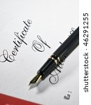 close up of pen on the diploma | Shutterstock . vector #46291255