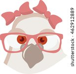 Pigeon Vector. Dove Vector. Girl pigeon with glasses. Illustration of a dove in cartoon style. Ready for package design, icon, logo design and others. Vector image of a dove or pigeon. Dove cartoon.  - stock vector