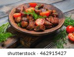 meat fried small pieces of... | Shutterstock . vector #462915427
