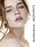 Small photo of pretty young woman with open mouth and cute face and languishing look