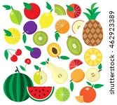colorful flat fruits and... | Shutterstock .eps vector #462923389