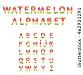 a hand drawn alphabet  striped... | Shutterstock .eps vector #462931291