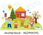 children playing outdoors in... | Shutterstock . vector #462944191