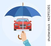 car with umbrella. safety ... | Shutterstock .eps vector #462951301