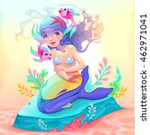young mermaid with a couple of...   Shutterstock .eps vector #462971041