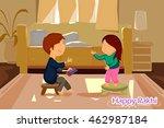 brother and sister tying rakhi... | Shutterstock .eps vector #462987184