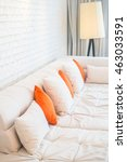 pillow on white sofa decoration ... | Shutterstock . vector #463033591