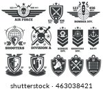 vintage military vector labels... | Shutterstock .eps vector #463038421