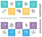 flat thin line icons set of... | Shutterstock .eps vector #463042465