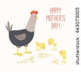 happy mother hen with baby... | Shutterstock .eps vector #463073005