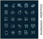shopping  e commerce icons on a ... | Shutterstock .eps vector #463074121