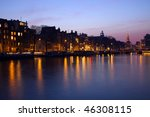 Stock photo evening in amsterdam seen during the winter 46308115