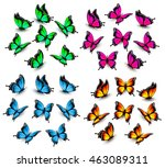 collection of color butterflies.... | Shutterstock .eps vector #463089311