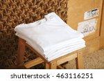 many folded white basic cotton... | Shutterstock . vector #463116251