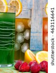 fresh healthy fruit juices on a ... | Shutterstock . vector #463116641