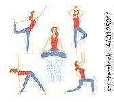 cartoon girls set doing yoga... | Shutterstock .eps vector #463125011