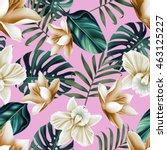 seamless tropical flower  plant ... | Shutterstock . vector #463125227